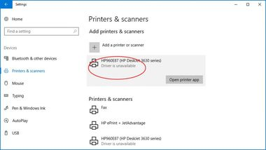 how to fix driver unavailable for printer