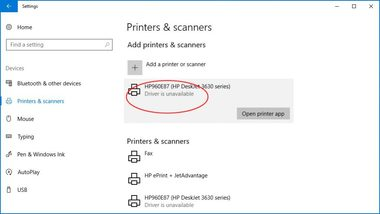 why is printer driver unavailable