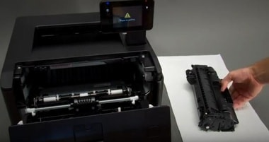 how to change ink cartridge on HP LaserJet Pro 400 m401d