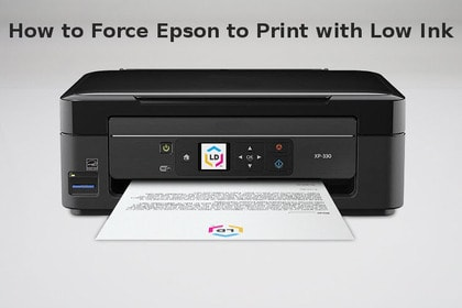 how to force epson to print with low ink