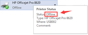 how to reconnect an offline printer
