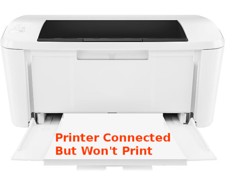printer connected but won't print