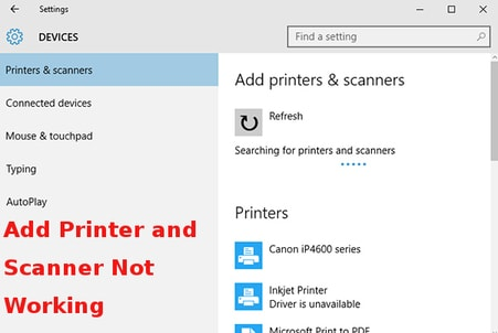 add printer and scanner not working