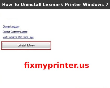 how to uninstall lexmark printer windows 7